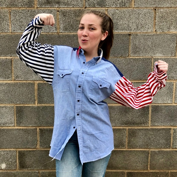 9dba99619 Panhandle Slim Shirts   Vintage Striped Sleeve Cotton Button Down ...
